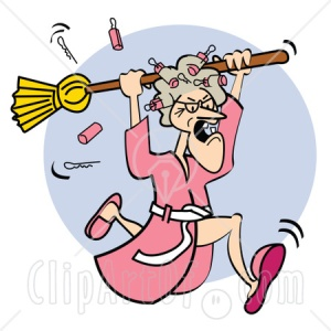 41817-Clipart-Illustration-Of-An-Angry-Granny-In-A-Robe-Dropping-Curlers-While-Chasing-Someone-With-A-Broom